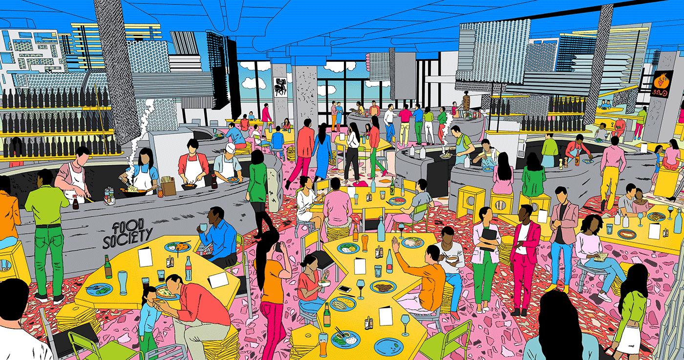 Illustration Food Society nouveau food-court part dieu