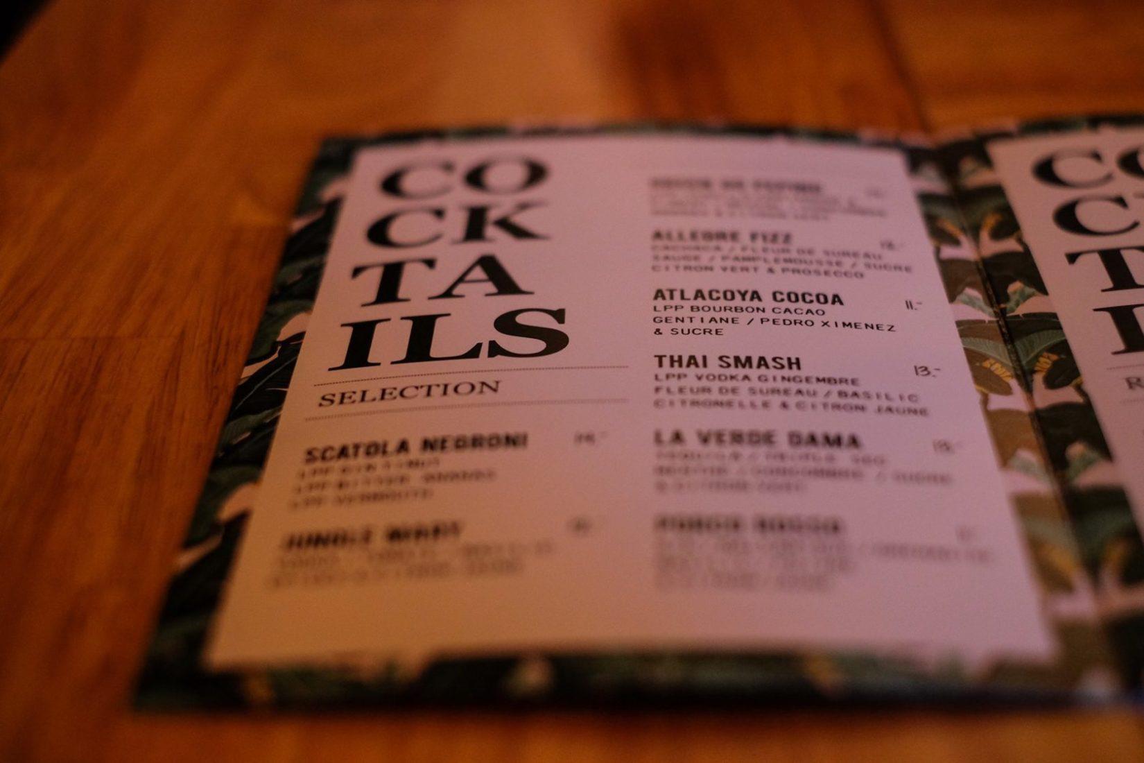 La Première Plantation carte - Bar à cocktail à Lyon