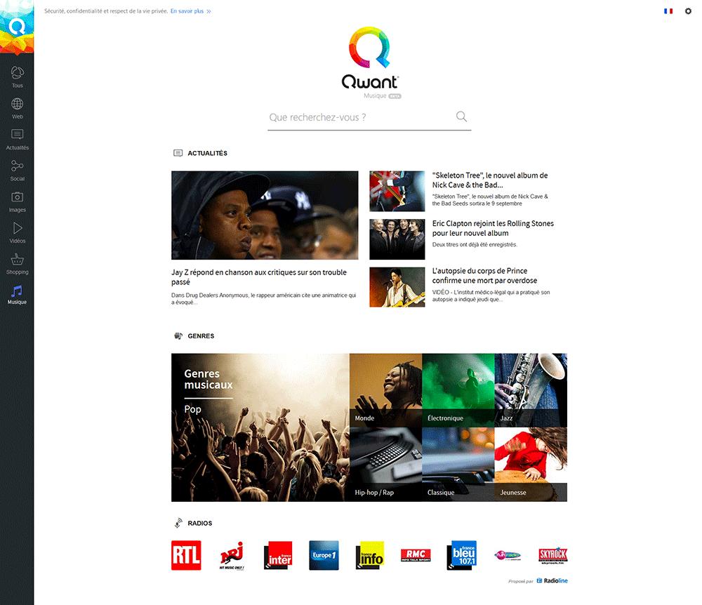 Page d'accueil Qwant Musique